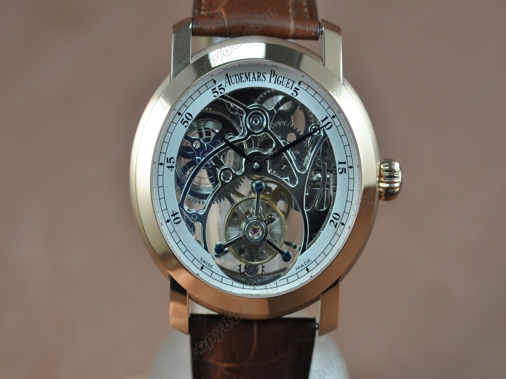 愛彼錶【男性用】 Jules Audemars Classics RG/LE White Flying Tourbillon 手上鏈搭載