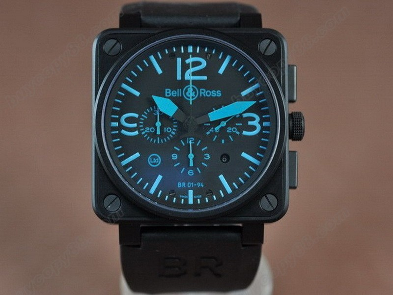Bell & Ross【男性用】 BR01-94 PVD/RU Black/Blue A-7750 オートマチック搭載