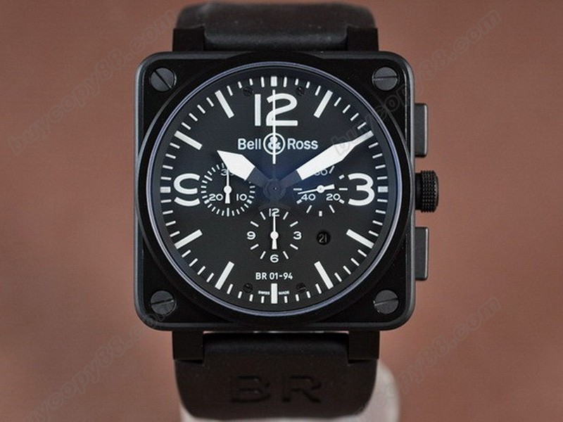 Bell & Ross【男性用】 BR01-94 PVD/RU Black/White A-7750 オートマチック搭載