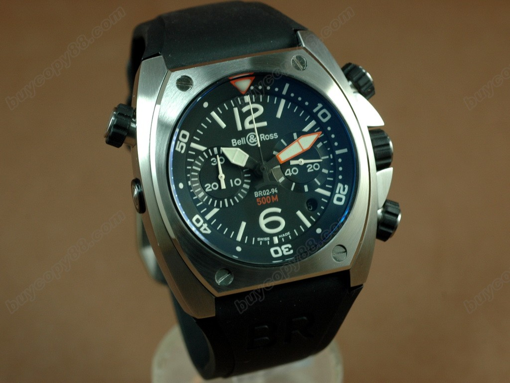 Bell & Ross【男性用】 BR-02 Chrono SS/RU Blk Num/Stk Asia 7750 オートマチック搭載