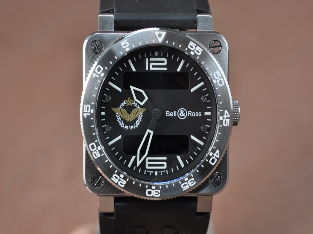 Bell & Ross【男性用】 BR03 Type Aviation SS French Air Force Black Dial  Swiss Eta石英機芯搭載