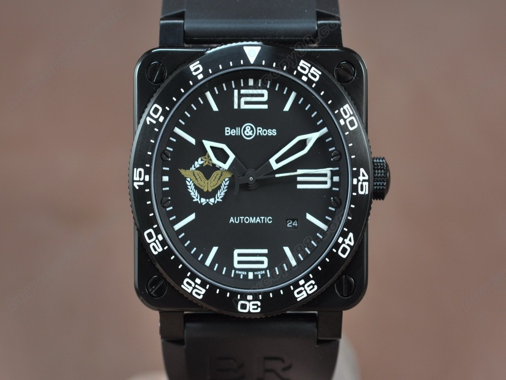 Bell & Ross【男性用】 BR03 PVD/RU French Air Force Black Dial Asia Eta 2824-2自動機芯搭載