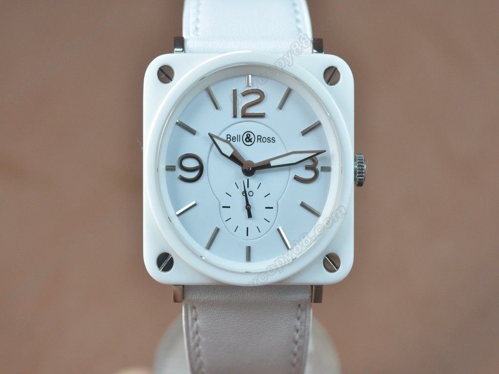 Bell & Ross【男性用】 BRS-98 White Ceramic Leather White Swiss 石英機芯搭載