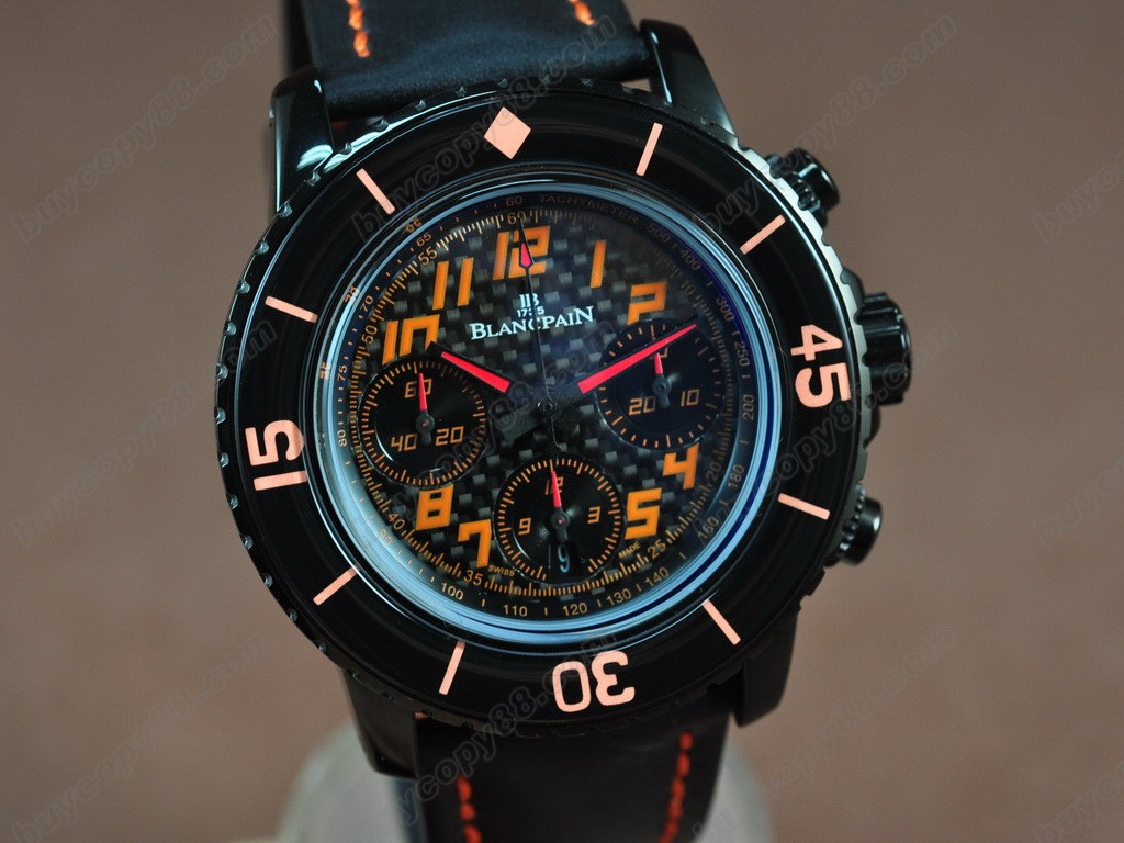 寶鉑錶【男性用】50 Fathoms Chronograph Limted Ed PVD/NY Blk/Red AsiaETA7750 自動機芯搭載