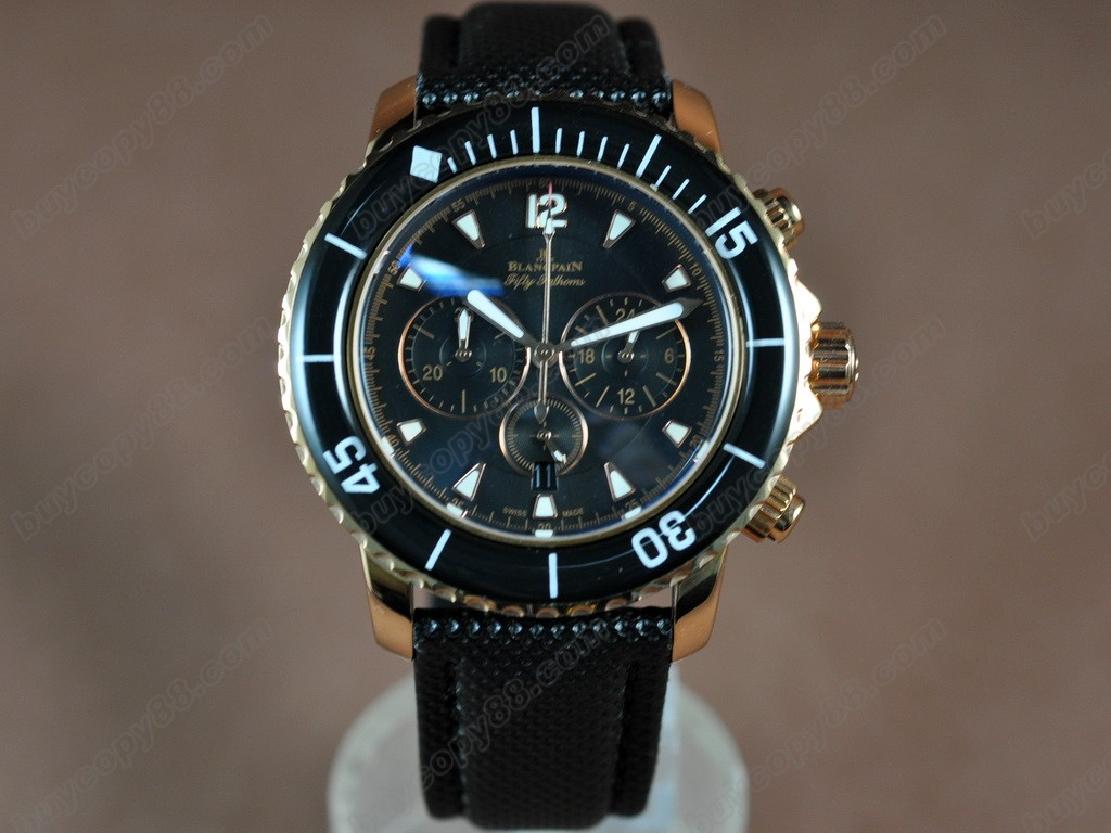 寶鉑錶【男性用】 Watches 50 Fathoms Chronograph RG/NY Blk Jap 石英機芯搭載