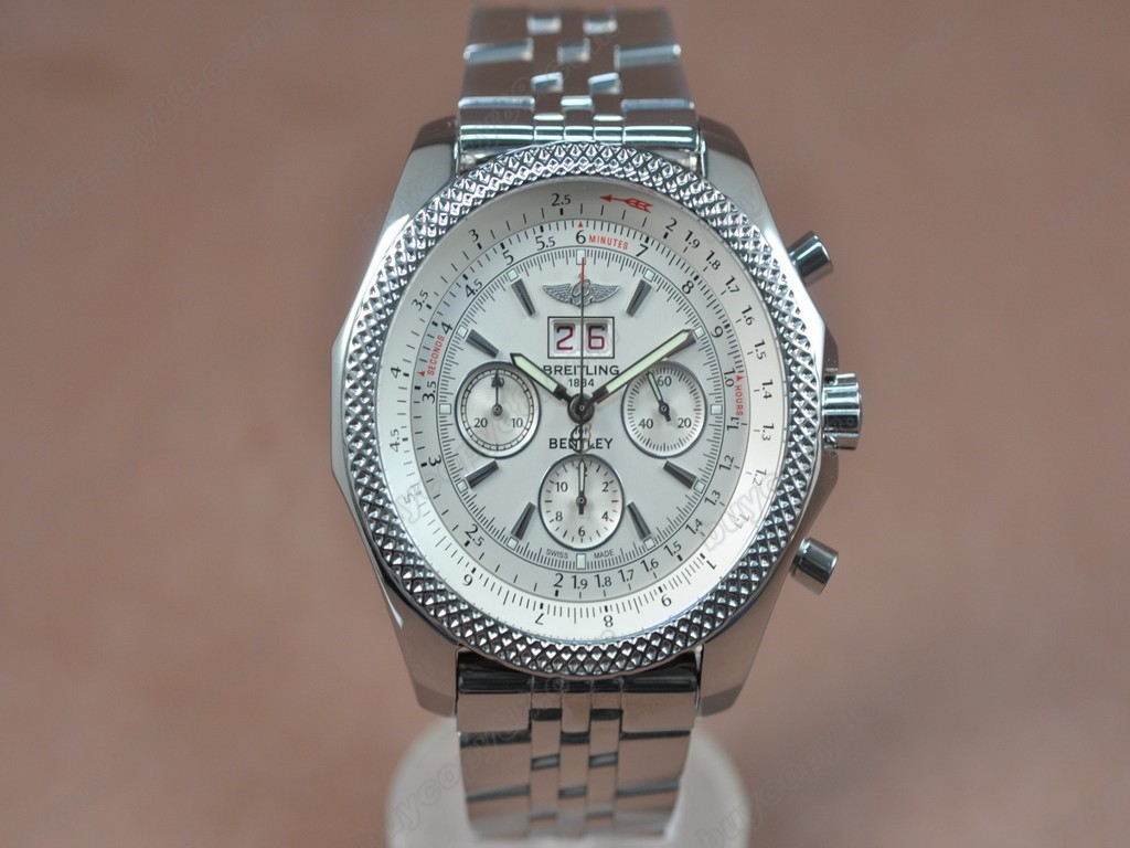 百年靈【男性用】Bentley Big Date Chrono SS/SS White Asia7750自動機芯搭載