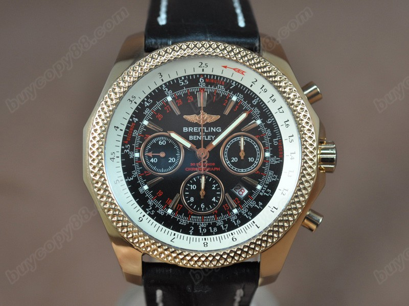 百年靈Breitling Bentley Chrono 玫瑰金/LE Black Dial A-7750自動機芯搭載
