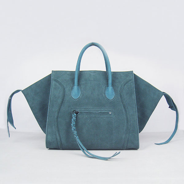 CELINE-6028E-blue-green藍綠色-Luggage 小牛皮手提微笑包手提包