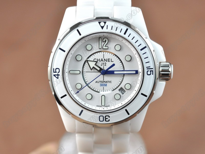 香奈兒【男性用】J12 (Best version)Full White Ceramic White Dial Swiss Eta 2824-2 自動機芯搭載