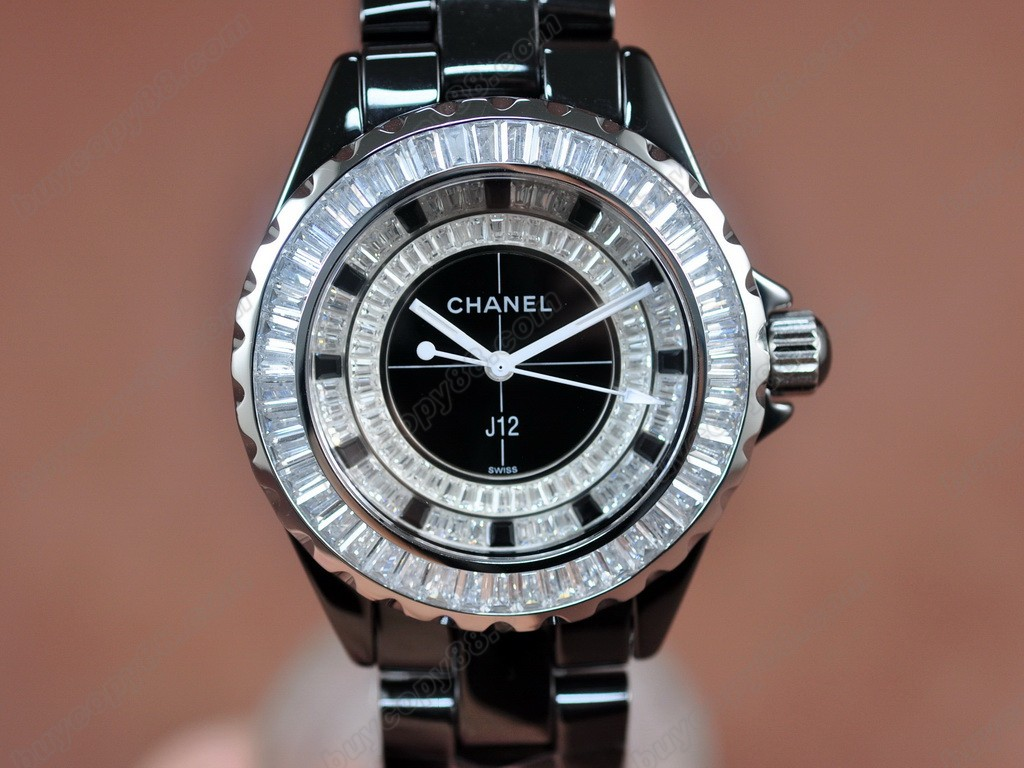 香奈兒【女性用】 J12 Joaillerie Ladies Black/Black/Clear Japanese石英機芯搭載
