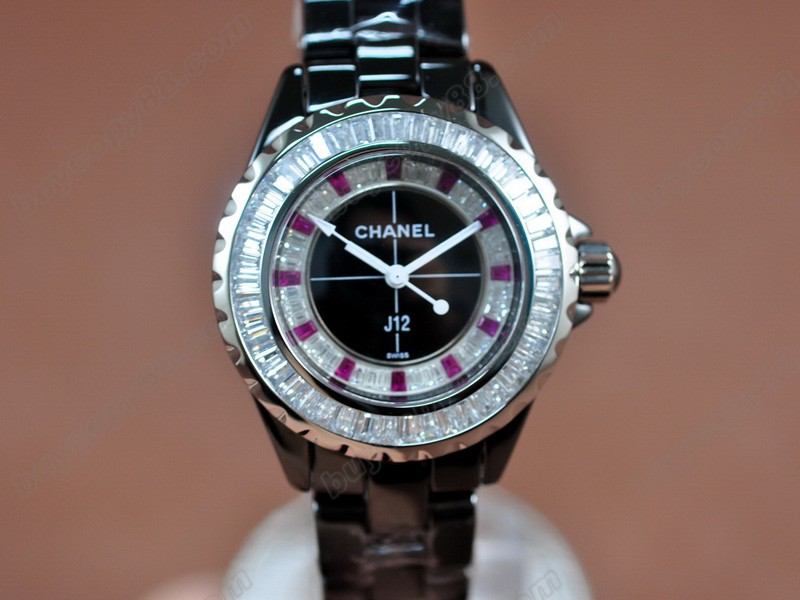 香奈兒【女性用】 J12 Joaillerie Ladies Black Japanese石英機芯搭載