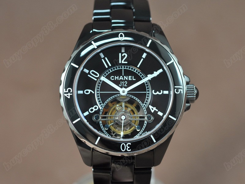 香奈兒Chanel J12 Tourbillon Full Black ceramic Black dial Handwind陀飛輪錶