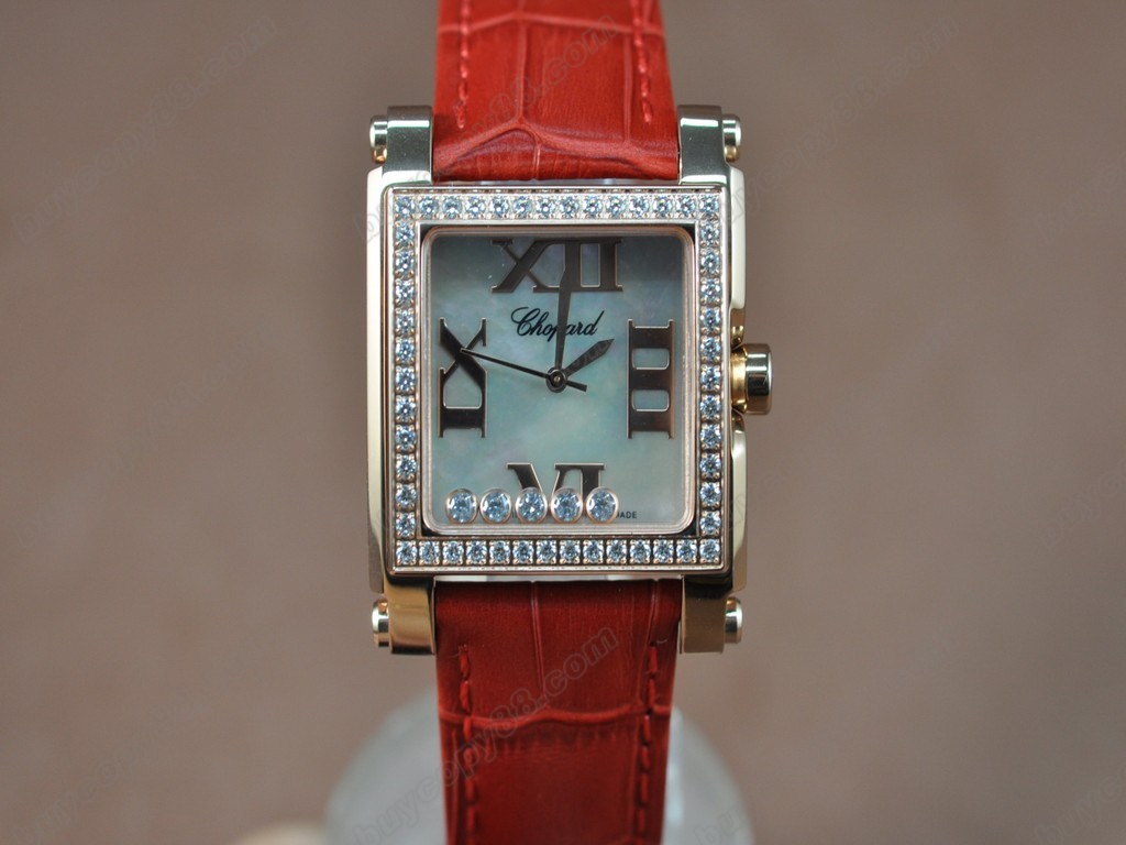 蕭邦錶【女性用】Happy Diamonds Ladies RG Case White Dial Swiss 石英機芯搭載