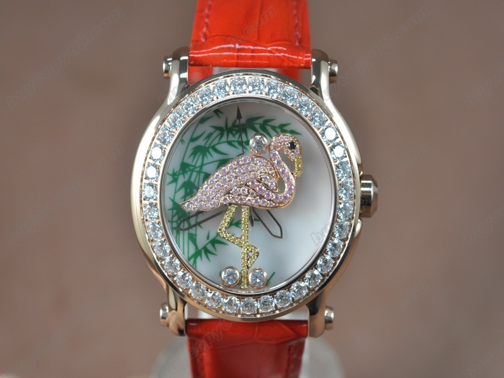 蕭邦錶【女性用】Happy Sports Animal Kingdom RG/LE Diam White Dial Swiss 石英機芯搭載