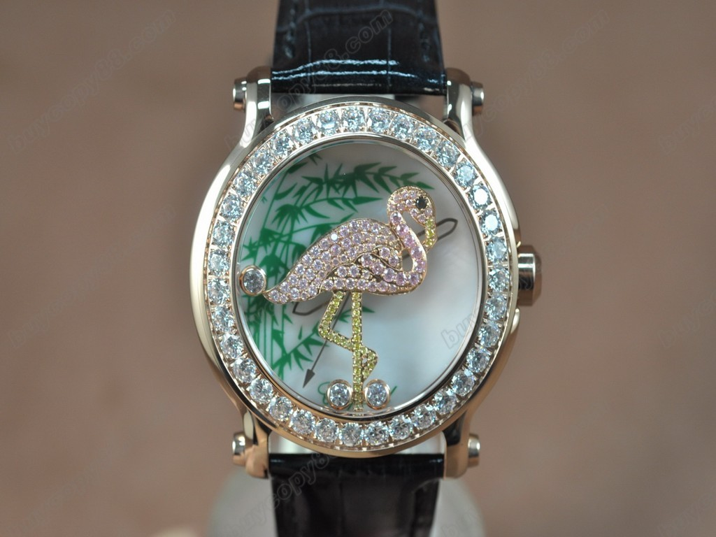 蕭邦錶【女性用】Happy Sports Animal Kingdom RG/LE Diam White Dial Swiss石英機芯搭載
