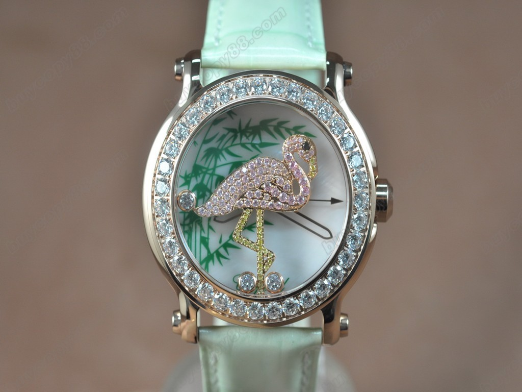 蕭邦錶【女性用】 Animal Kingdom RG/LE Diam White Dial Swiss 石英機芯搭載