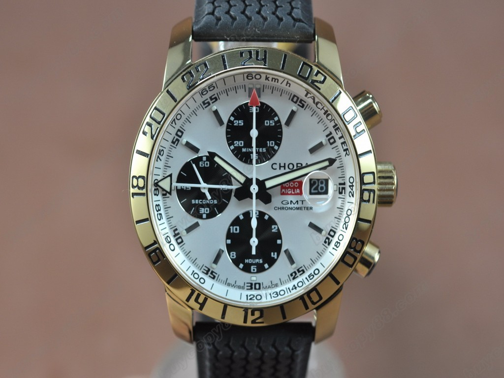 蕭邦錶【男性用】Mile Miglia GMT Chrono YG/RU White dial A-7750自動機芯搭載