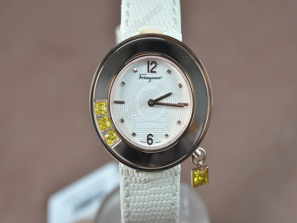 菲拉格慕【女性用】Ladies RG/LE White MOP Dial Swiss石英機芯搭載
