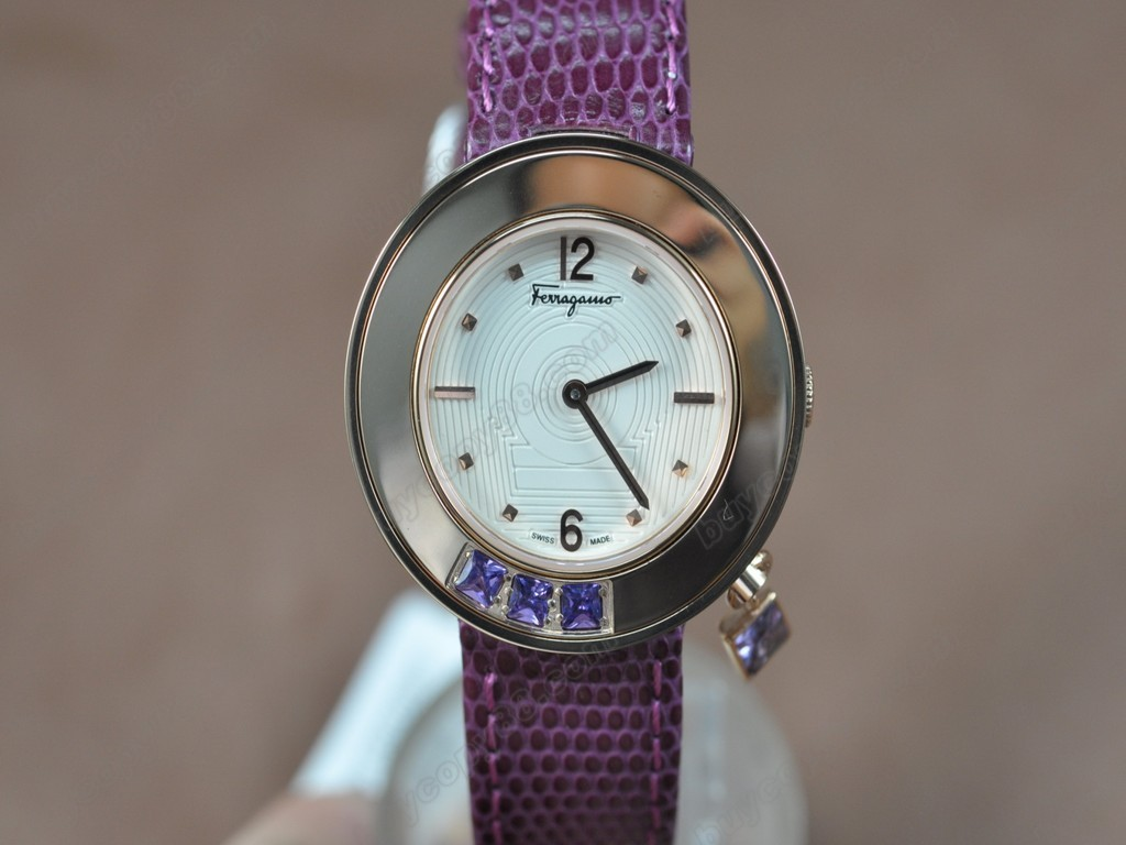 菲拉格慕【女性用】 Ladies RG/LE White MOP Dial Swiss 石英機芯搭載