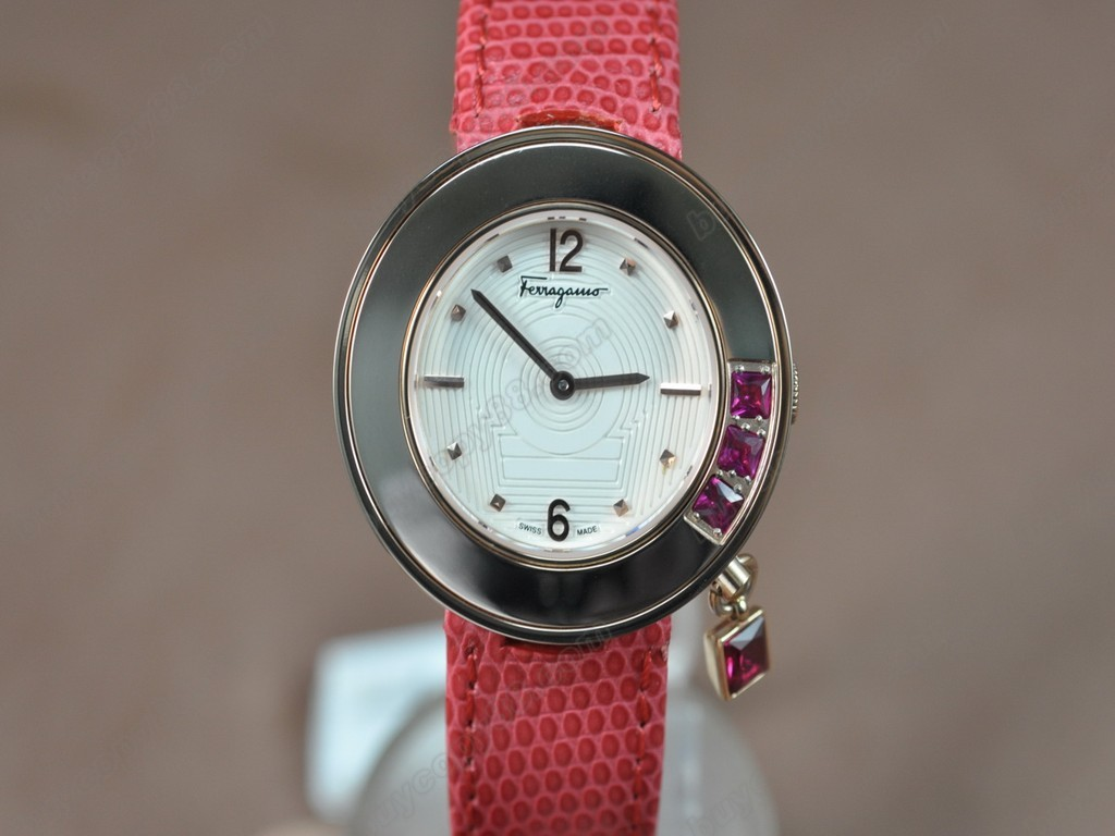 菲拉格慕【女性用】Ladies RG/LE White MOP Dial Swiss 石英機芯搭載