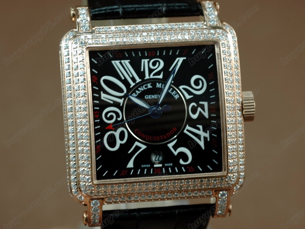 法蘭克穆勒【男性用】 Conquistador Bezel Diamond RG Case Black Dial, Black Strap Japan 石英機芯搭載