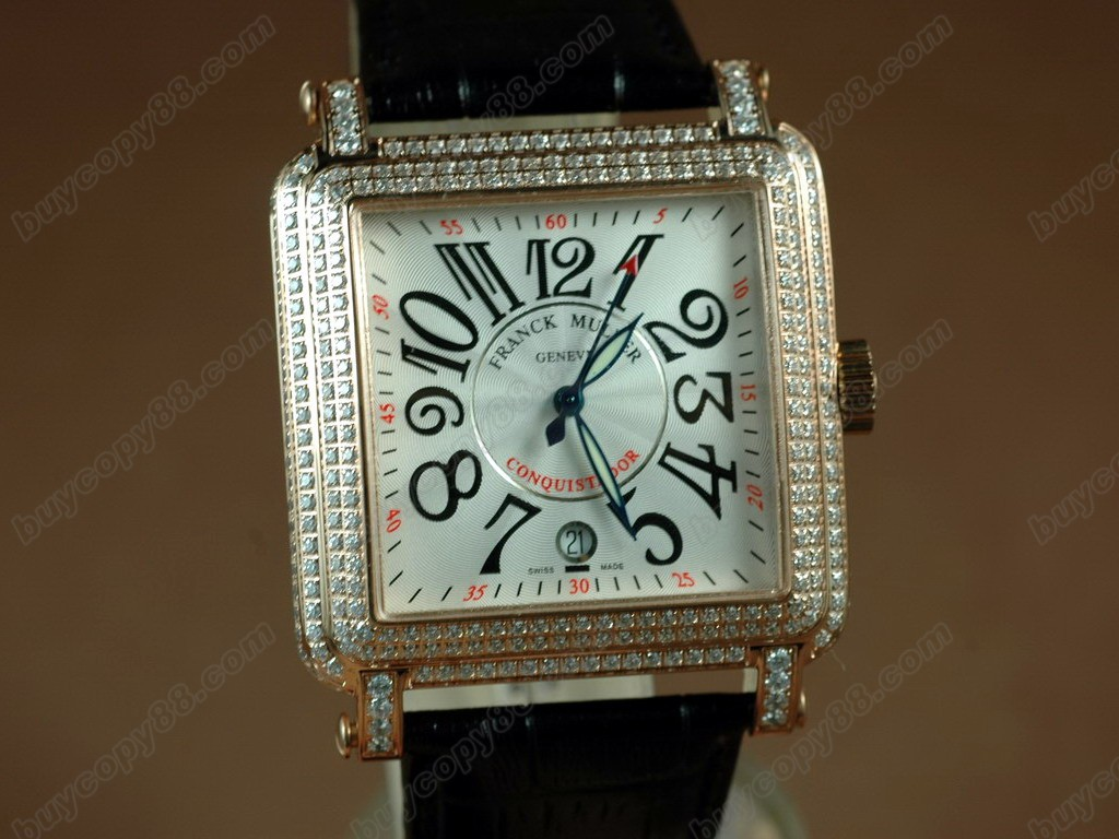 法蘭克穆勒【男性用】 Conquistador Bezel Diamond RG Case White Dial, Black Strap Japan 自動機芯搭載