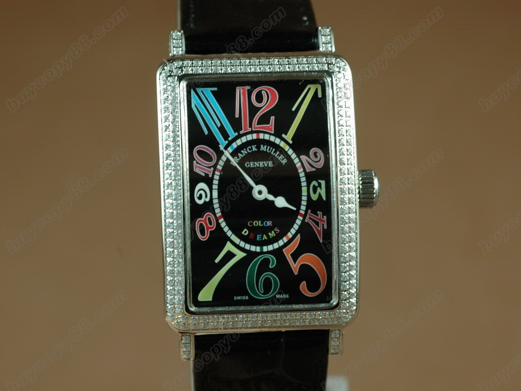 法蘭克穆勒【男性用】 Long Island SS Case Diamond Black Dial Black Strap  Swiss石英機芯搭載