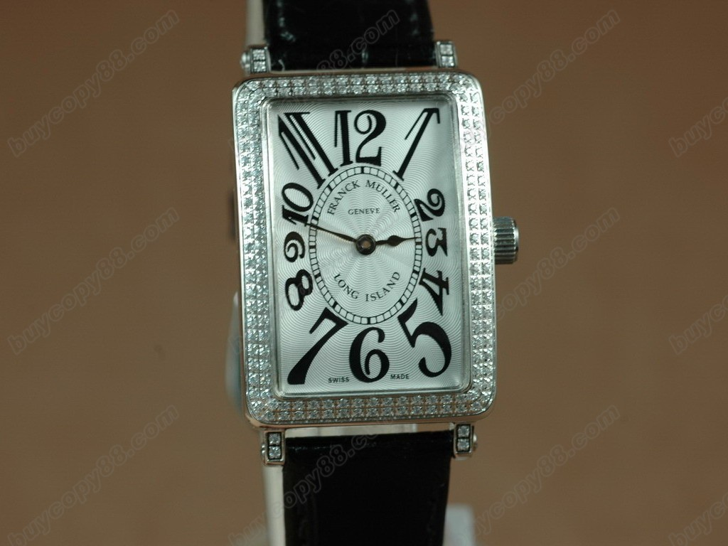 法蘭克穆勒【男性用】Long Island SS Case Diamond White Dial Black StrapSwiss石英機芯搭載