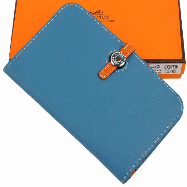 HERMES-227-blue-orange錢夾