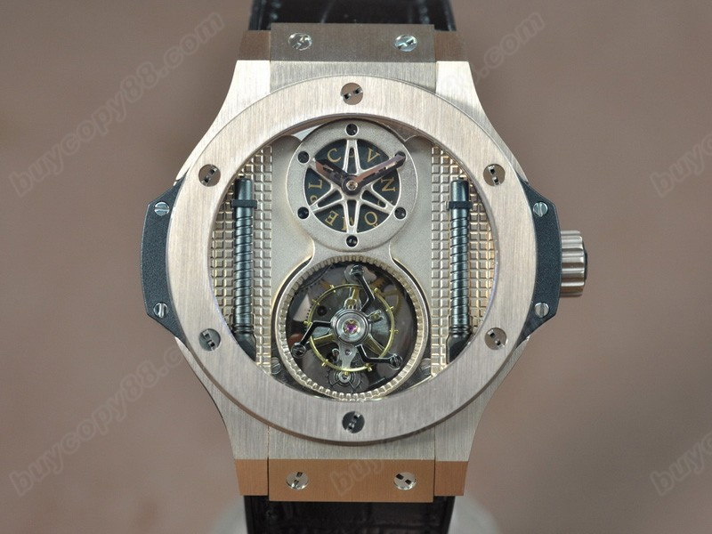 御博Hublot Aero Band 44mm Tourbillon 玫瑰金 Gold dial Asian Handwind陀飛輪錶