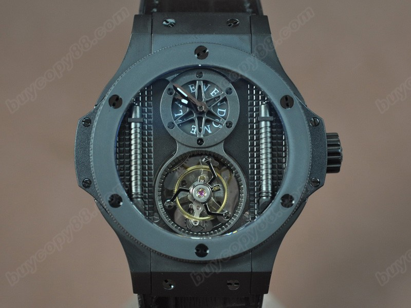 御博Hublot Aero Band 44mm Tourbillon PVD Ceramic Bel Black Asian Handwind陀飛輪錶