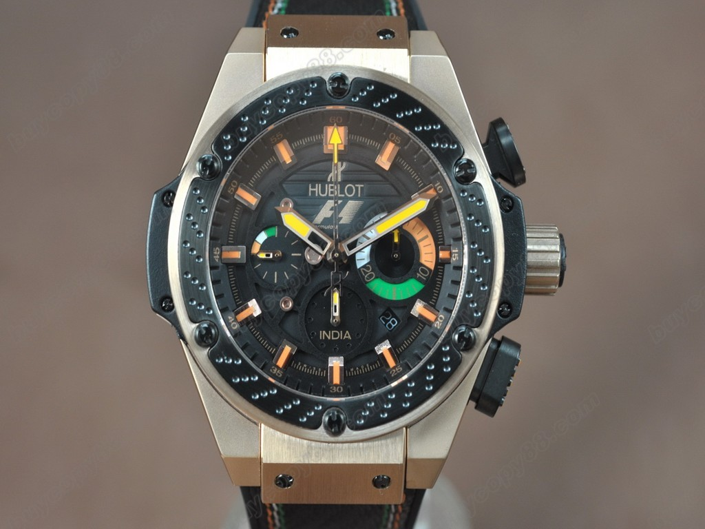 御博 【男性用】Big Bang King Power F1 RG/LE Black dial A-7750 Chrono 自動機芯搭載