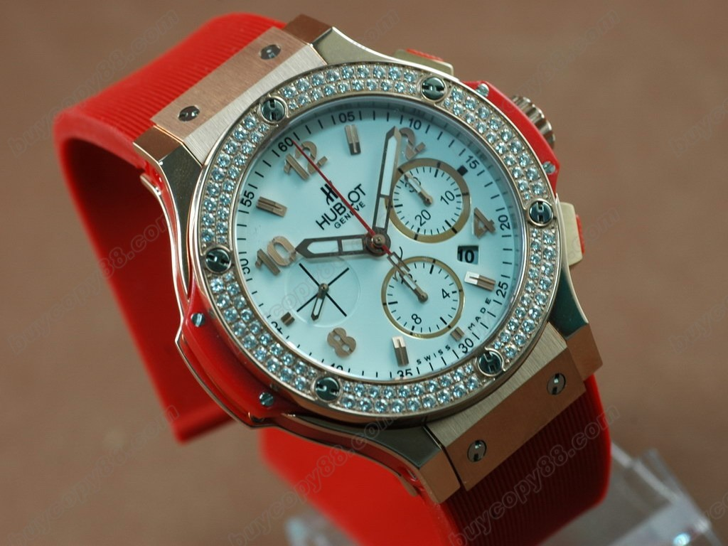 御博 【男性用】Big Bang Rose Gold White Dial Diamond Bezel AsiaETA7750 自動機芯搭載