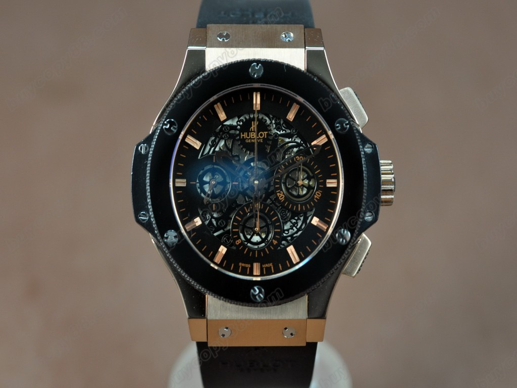 御博 【男性用】 Big Bang RG case Ceramic Bez Black dial A-7750自動機芯搭載