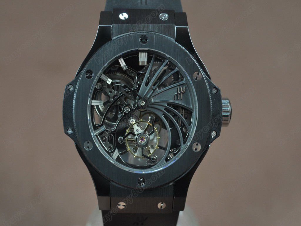 御博 【男性用】BigBand 44mm Ceramic Hollowing dial Tourbillon Asian Manual 手上鏈搭載