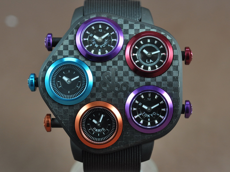 Jacob & Co Five Time Zones PVD/RU Jap 石英機芯搭載