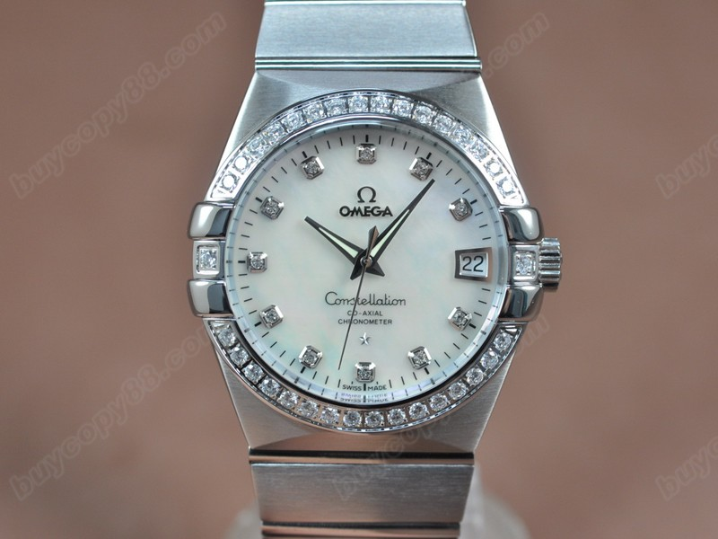 歐米茄Omega Constellation 39mm SS/SS/Diam Pearl White Dial A-2824-2自動機芯搭載
