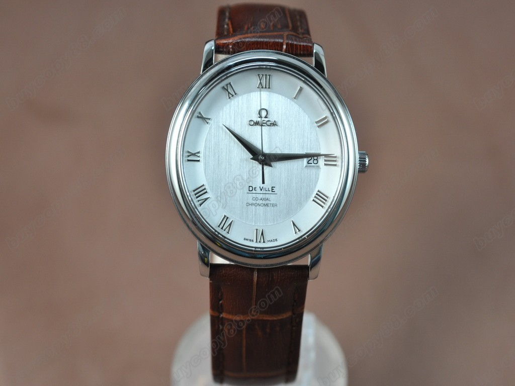 歐米茄 【男性用】Deville SS White Dial Leather Strap Swiss Eta 2824-2