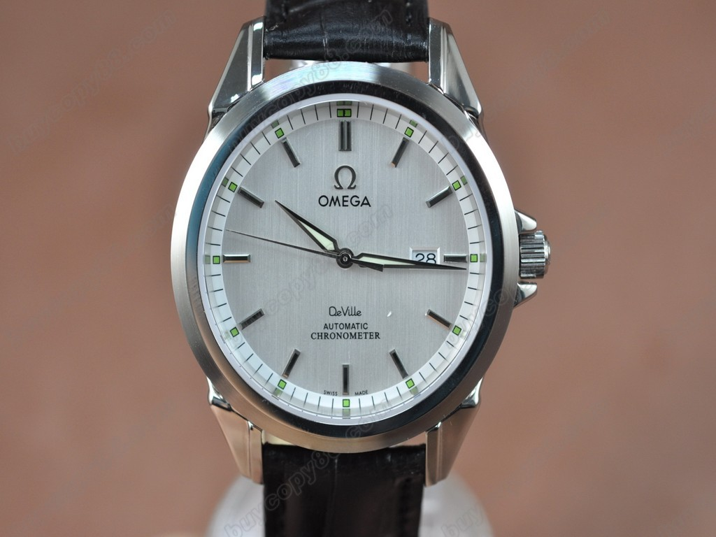 歐米茄 【男性用】Deville SS White Dial Leather Strap Swiss Eta 2834-2 自動機芯搭載