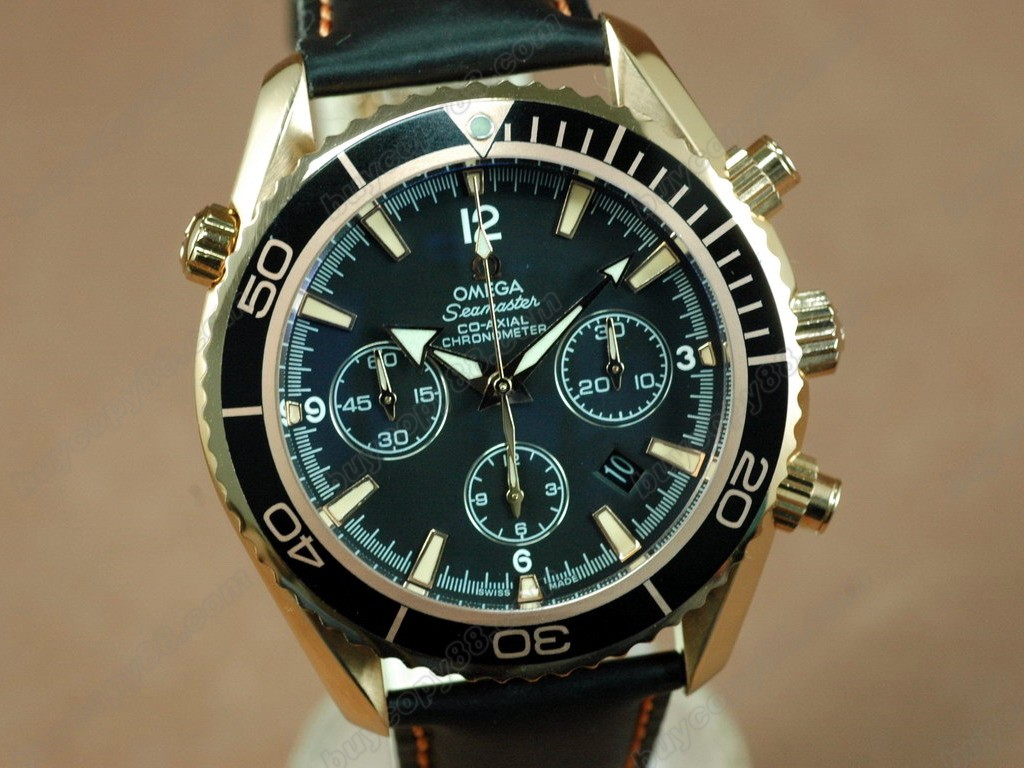 歐米茄 【男性用】 Planet Ocean 45.5mm Chrono RG/LE Black Bezel A-7750自動機芯搭載