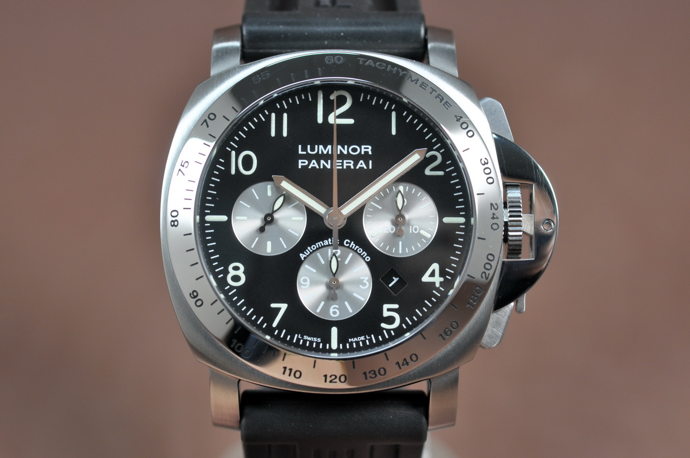 沛納海Panerai Dayligth SS/RU Black Dial Asian 7753 Chrono 自動機芯搭載