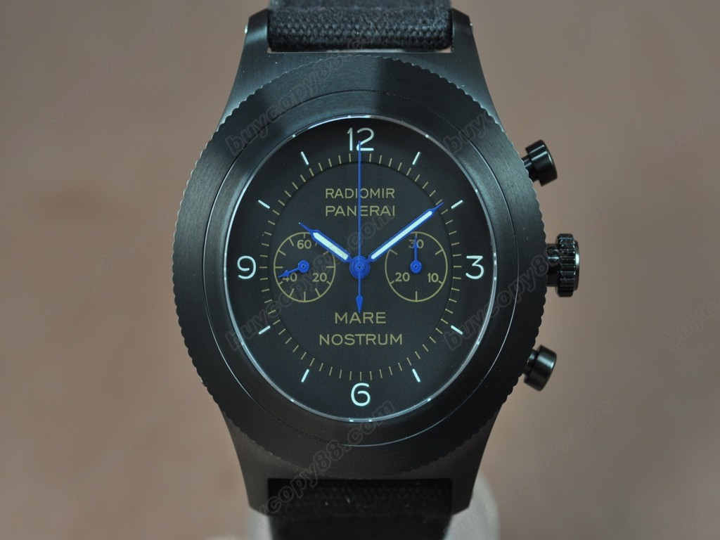 沛納海【男性用】 Radiomir 52mm Chrono Black DialManual手上鏈搭載