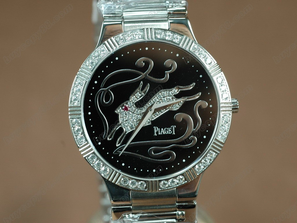 伯爵錶 Sculpture Totem SS Case Diamond Black Dial Swiss石英機芯搭載