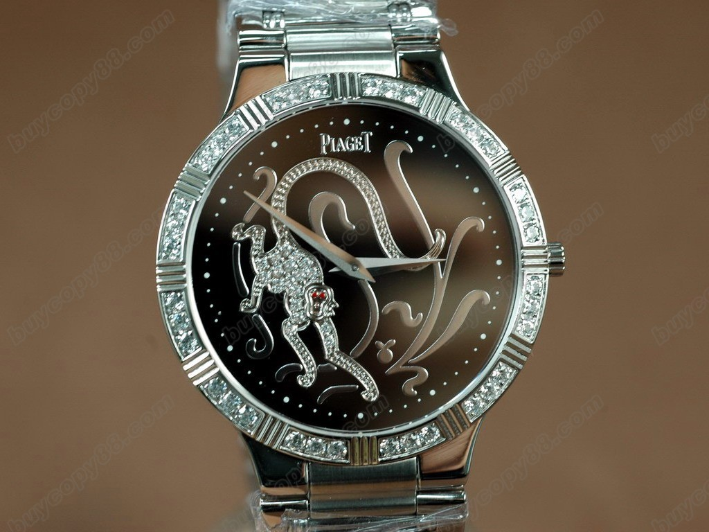 伯爵錶Sculpture Totem SS Case Diamond Black Dial Swiss石英機芯搭載