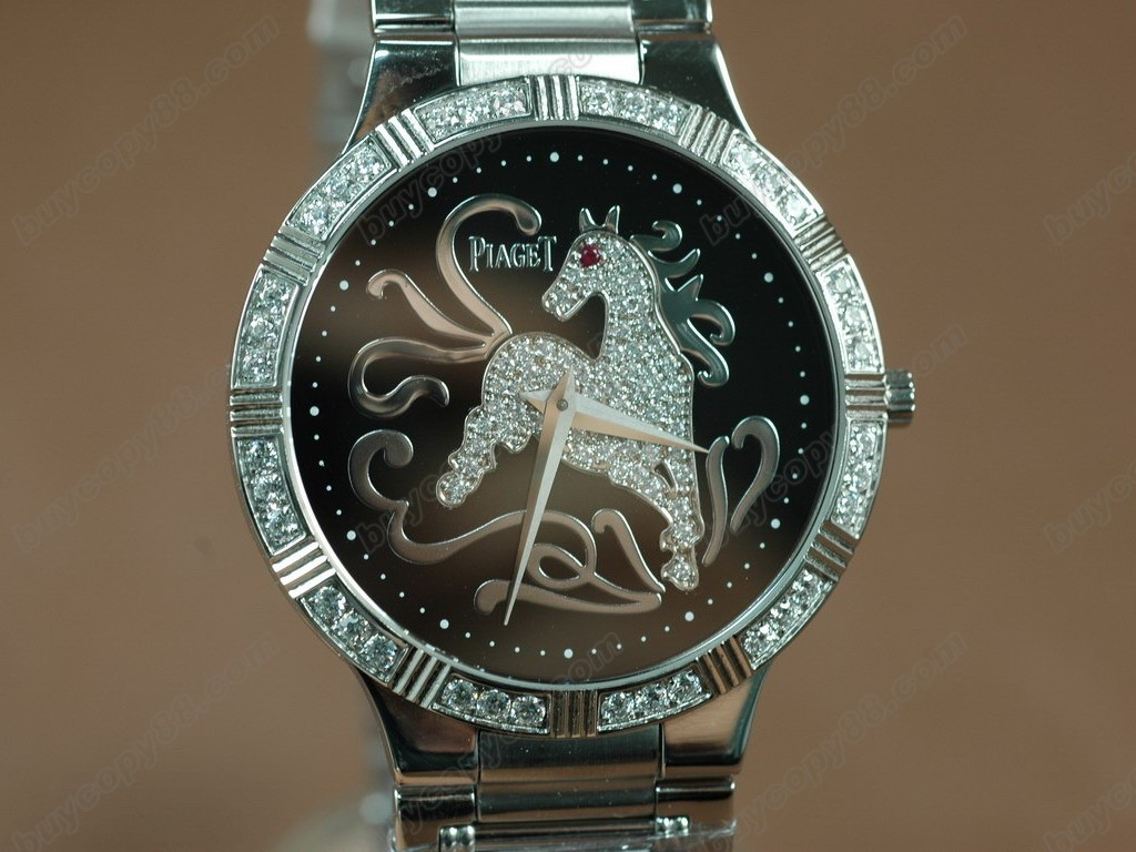 伯爵錶 Sculpture Totem SS Case Diamond Black Dial Swiss 石英機芯搭載
