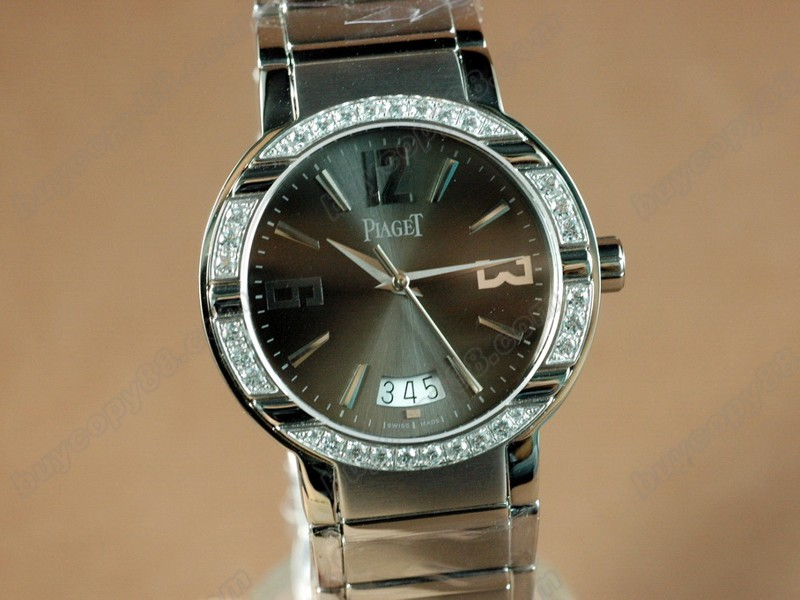 伯爵【男性用】 Polo Mens SS/Diamonds Black Swiss Eta 2824-2オートマチック搭載