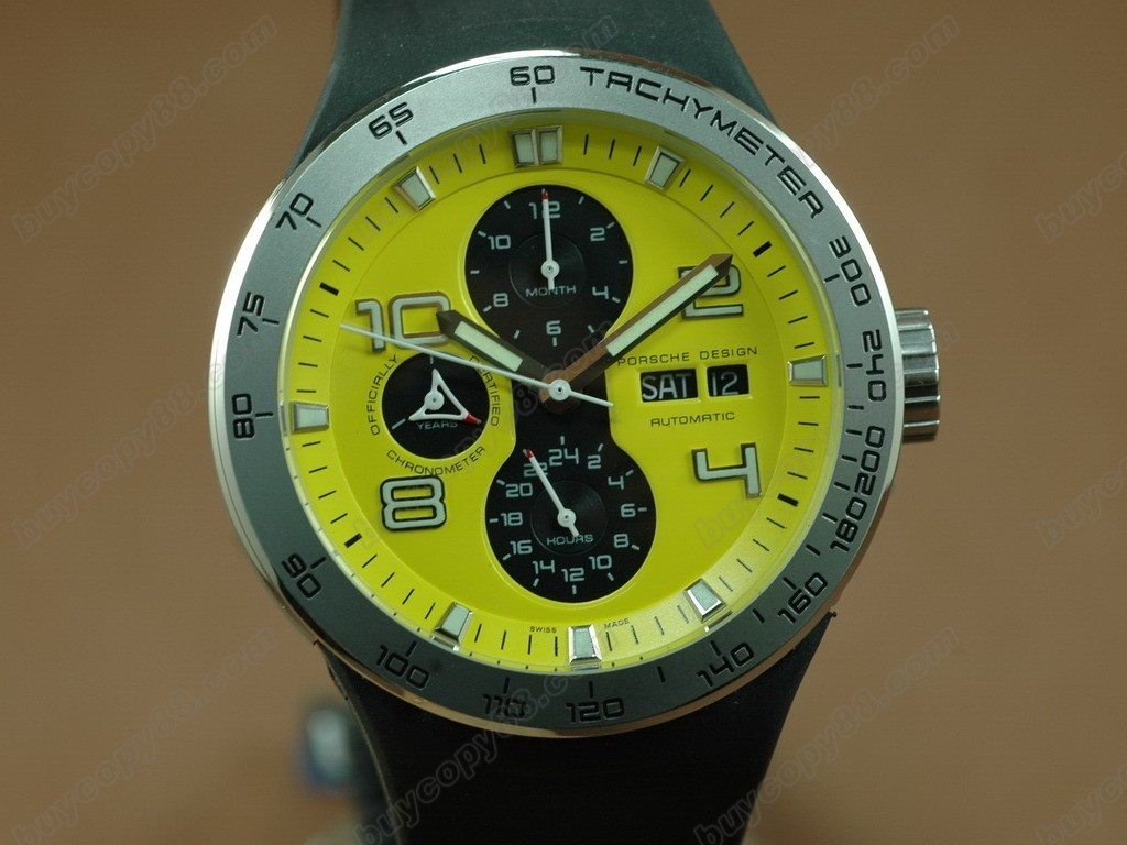 保時捷【男性用】 Flat 6 Working Chronograph PVD Case with Yellow Dial-Same Structure As 7750自動機芯搭載