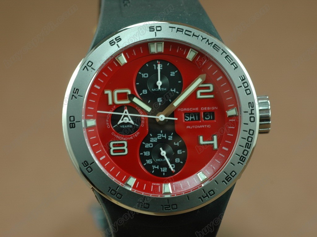 保時捷【男性用】  Flat 6 Working Chronograph PVD Case with Red Dial-Same Structure As 自動機芯搭載