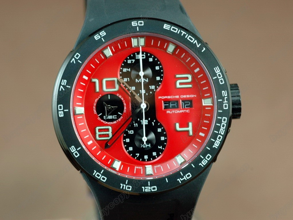 保時捷【男性用】 Porsche Design Watches Flat 6 Limited Chrono SS/RU Red Asia 7750 自動機芯搭載