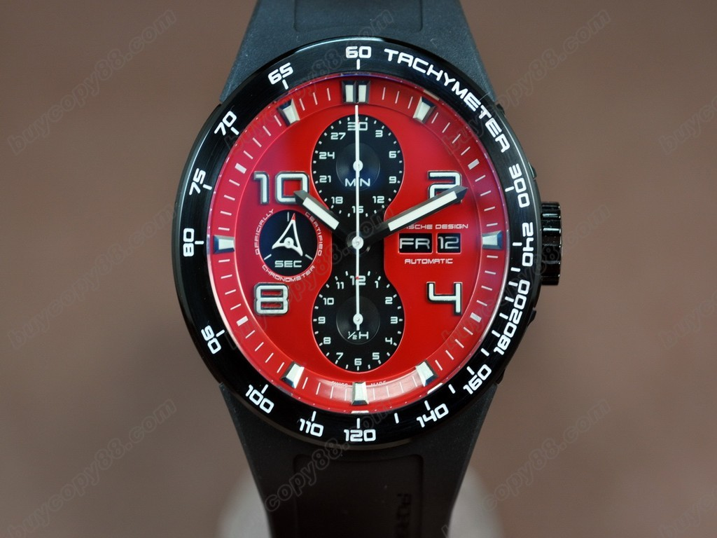 保時捷【男性用】 2009 Ed Flat 6 Chrono PVD/RU Red A-7750自動機芯搭載